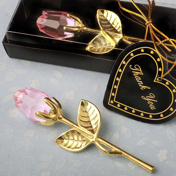 Choice Crystal Gold long stem pink Rose from fashioncraft-Personalized Coasters-JadeMoghul Inc.