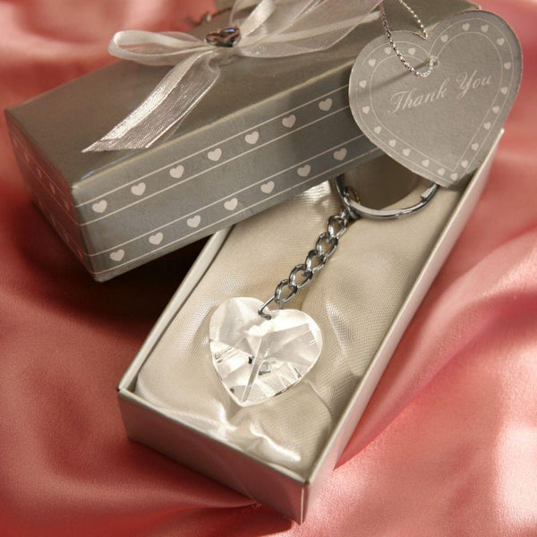 Chrome Key Chain With Crystal Heart-Personalized Gifts for Men-JadeMoghul Inc.
