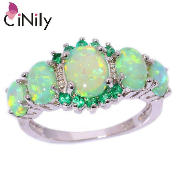CiNily Created Green Fire Opal Crystal Silver Plated Ring Wholesale Retail Hot Sell for Women Jewelry Ring Size 5-12 OJ7552-10-Green-Silver-JadeMoghul Inc.
