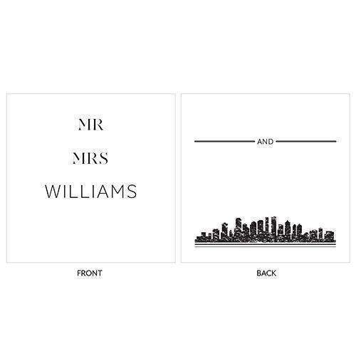 City Style Personalized Clear Acrylic Block Cake Topper Black (Pack of 1)-Wedding Cake Toppers-Black-JadeMoghul Inc.