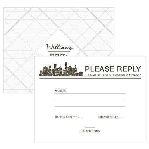 City Style RSVP Charcoal (Pack of 1)-Weddingstar-Charcoal-JadeMoghul Inc.