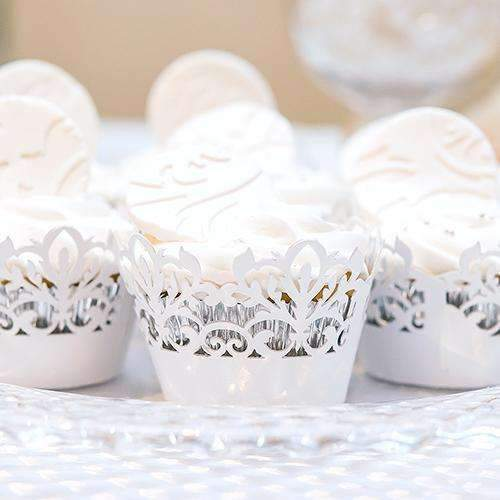 Classic Damask Filigree Paper Cupcake Wrappers White Shimmer (Pack of 12)-Wedding Candy Buffet Accessories-JadeMoghul Inc.