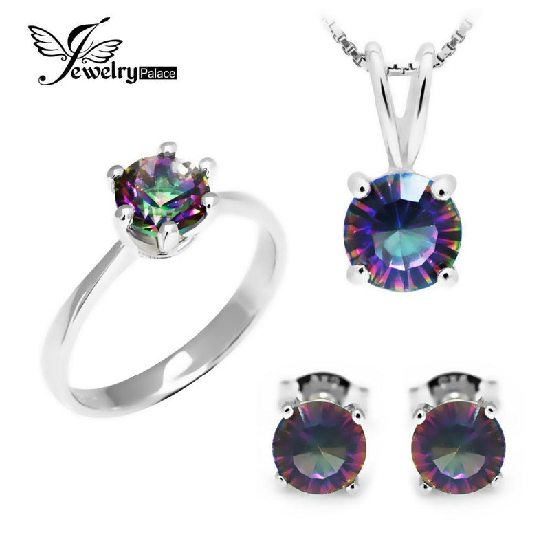 Classic Round Genuine Rainbow Fire Mystic Topaz Pendant Ring Earring For Women Wedding Gift Set 925 Sterling Silver-6-JadeMoghul Inc.