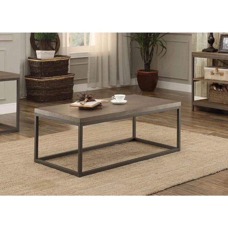 Cocktail Table In Metal Frame With Grey Weathered Wood, Grey-Coffee Tables-Gray-Wood & Marble-JadeMoghul Inc.
