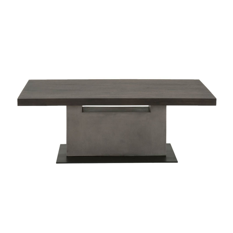 Coffee Table In Slate Gray and Espresso Brown-Coffee Tables-Brown, Gray & Black-Acacia Veneer Concrete Metal-JadeMoghul Inc.