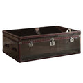 Coffee Tables Trunk Design Leatherette Trim Wooden Coffee Table with 2 Drawers, Brown and Gray Benzara