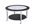 Coffee Tables Wood and Metal Round Coffee Table with Glass Inserted Top, Espresso Brown and Silver Benzara
