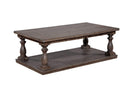 Coffee Tables Wooden Coffee Table with Turned Legs and Open Shelve, Rustic Gray Benzara