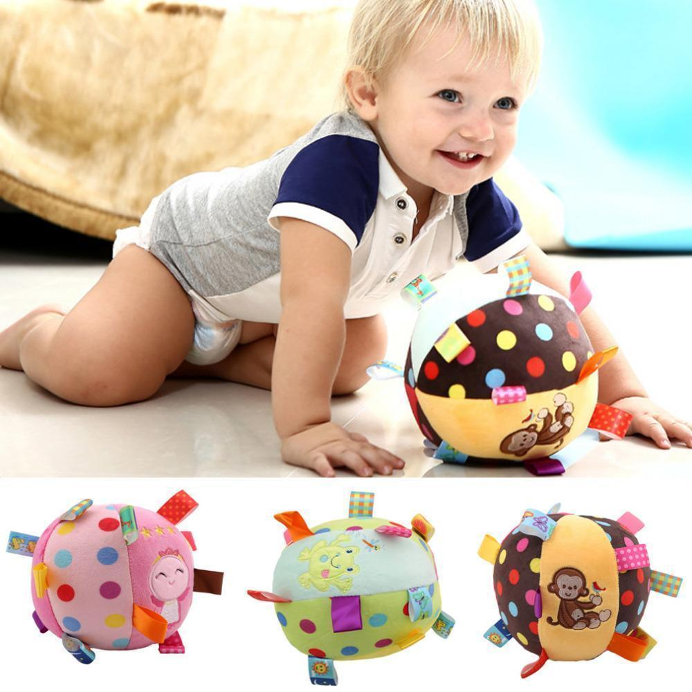 Baby Plush Hand Grasping Sports Ball Beating Toy Gifts w//Ring Bell Play Fun