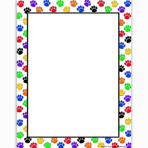 COLORFUL PAW PRINTS COMPUTER PAPER-Learning Materials-JadeMoghul Inc.