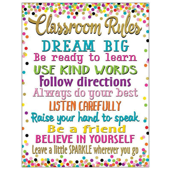 CONFETTI CLASSROOM RULES CHART-Learning Materials-JadeMoghul Inc.