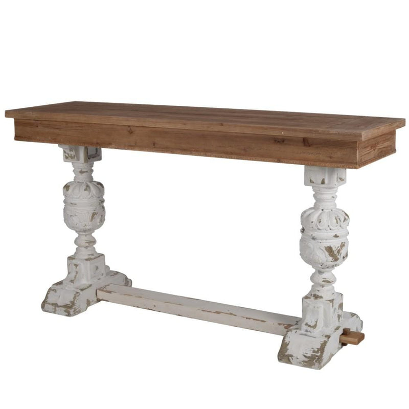 Console Tables Wood Buffet Table With Distressed Base, Brown & White Benzara