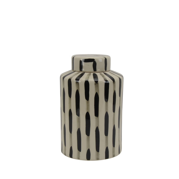 Contemporary Ceramic Jar with Lid, Beige and Black
