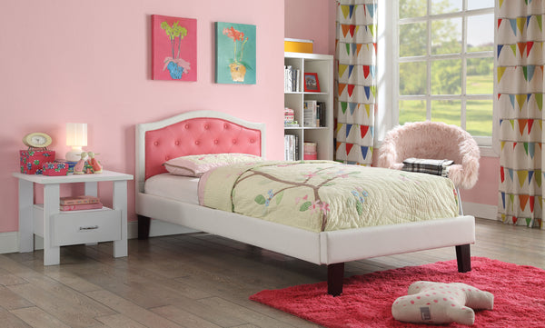 Contemporary Wooden Full Bed with Faux Leather Button Tufted Headboard, Pink and White