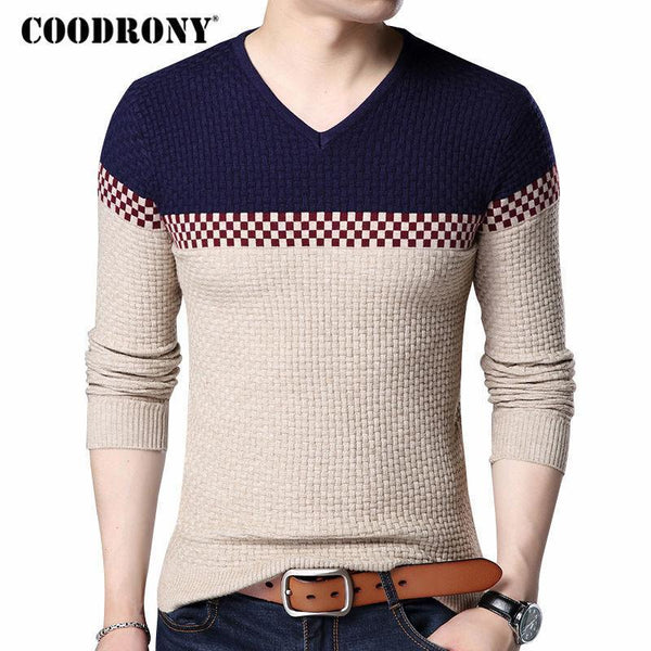 COODRONY 2018 Autumn Winter Warm Wool Sweaters Casual Hit Color Patchwork V-neck Pullover Men Brand Slim Fit Cotton Sweater 155-Beige-S-JadeMoghul Inc.
