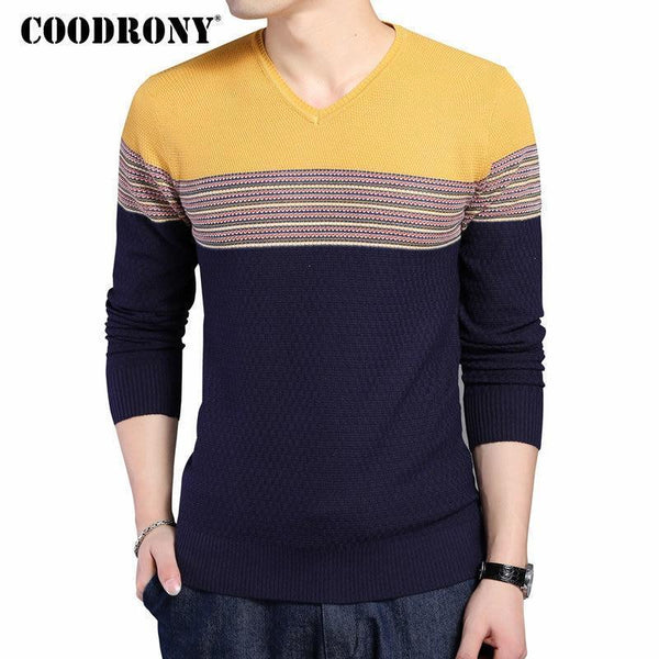 COODRONY 2018 New Arrival Hit Color Striped Patchwork Pullover Men V-Neck Pull Homme Casual Knitted Cotton Wool Sweater Top 6646-Red-S-JadeMoghul Inc.
