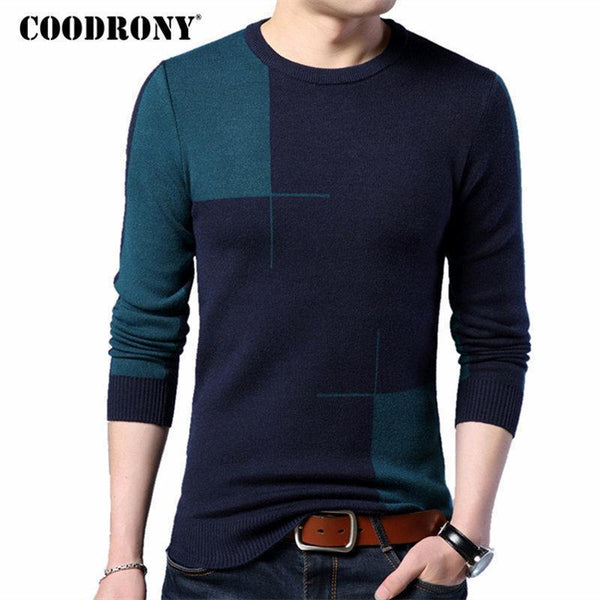 COODRONY 2018 New Autumn Winter Thick Warm Cashmere Sweater Men Casual O-Neck Pull Homme Brand Pullovers Mens Wool Sweaters 7185-Blue-S-JadeMoghul Inc.