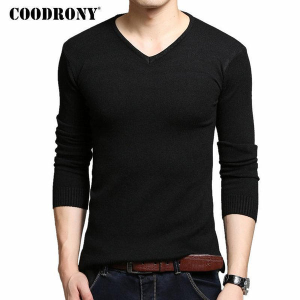 COODRONY Autumn Winter Thick Warm Cashmere Wool Sweater Men Solid Color V-Neck Knitted Pullover Men Slim Fit Pull Homme Top 6645-Black-XL-JadeMoghul Inc.