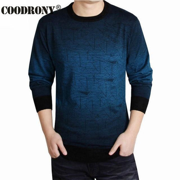 COODRONY Cashmere Sweater Men Brand Clothing Mens Sweaters Print Casual Shirt Autumn Wool Pullover Men O-Neck Pull Homme Top 613-Blue-S-JadeMoghul Inc.