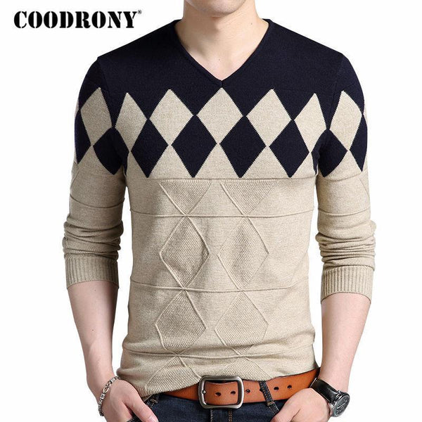 COODRONY Cashmere Wool Sweater Men 2018 Autumn Winter Slim Fit Pullovers Men Argyle Pattern V-Neck Pull Homme Christmas Sweaters-Orange-S-JadeMoghul Inc.