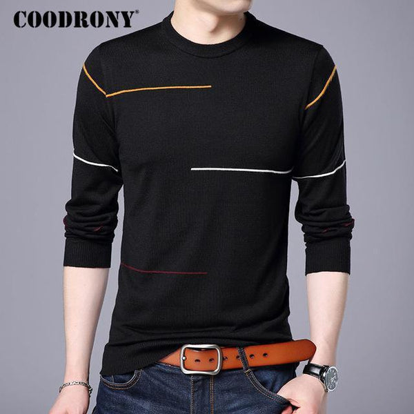 COODRONY Cashmere Wool Sweater Men Brand Clothing 2018 Autumn Winter New Arrival Slim Warm Sweaters O-Neck Pullover Men Top 7137-Black-S-JadeMoghul Inc.