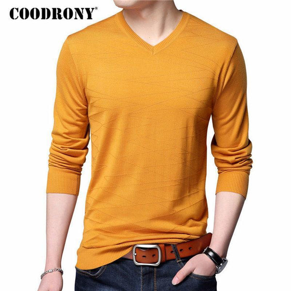COODRONY Knitted Wool Pullover Men Casual V-Neck Sweater Men Brand Clothing Mens Cotton Sweaters Slim Fit Pull Homme Shirts 7129-Red-S-JadeMoghul Inc.