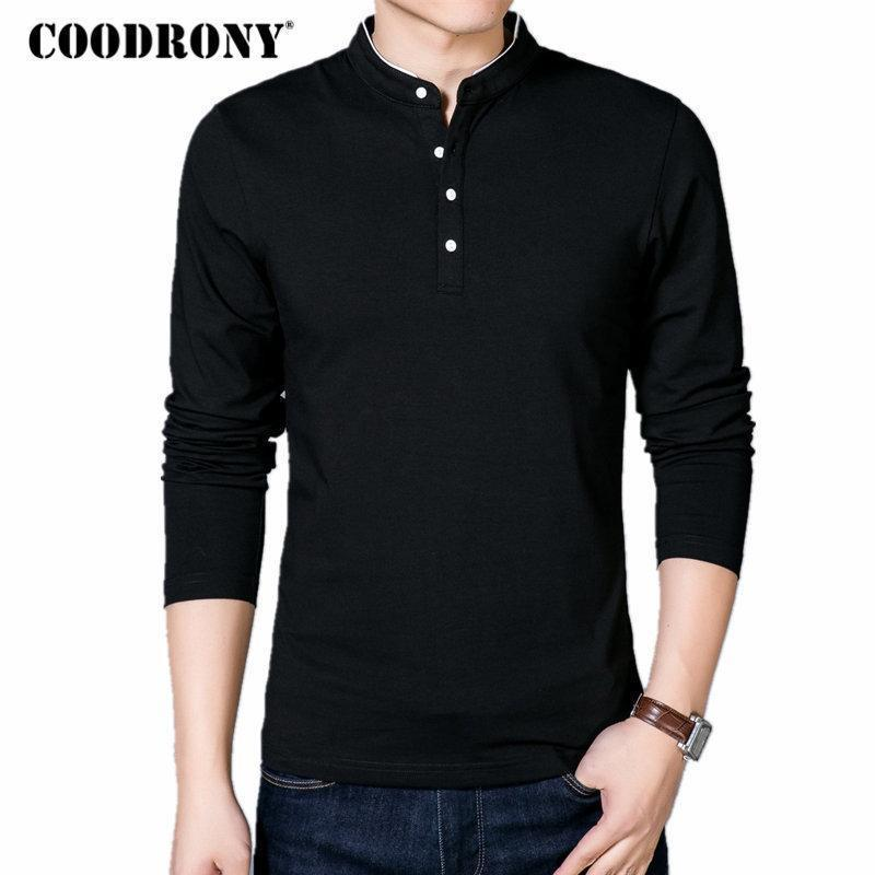 COODRONY T-Shirt Men 2017 Spring Autumn New 100% Cotton T Shirt Men Solid Color Tshirt Mandarin Collar Long Sleeve Top Tees 7608-Black-S-JadeMoghul Inc.