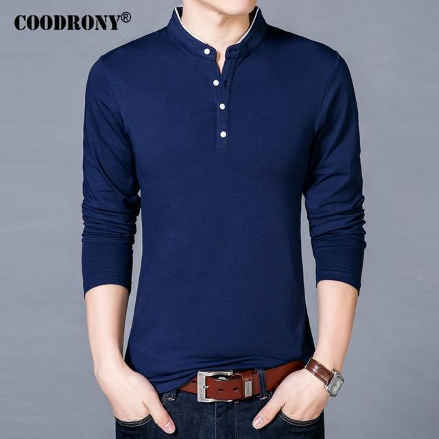 COODRONY T-Shirt Men 2017 Spring Autumn New 100% Cotton T Shirt Men Solid Color Tshirt Mandarin Collar Long Sleeve Top Tees 7608-Blue-S-JadeMoghul Inc.