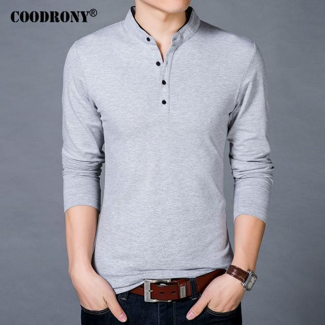 COODRONY T-Shirt Men 2017 Spring Autumn New 100% Cotton T Shirt Men Solid Color Tshirt Mandarin Collar Long Sleeve Top Tees 7608-Gray-S-JadeMoghul Inc.