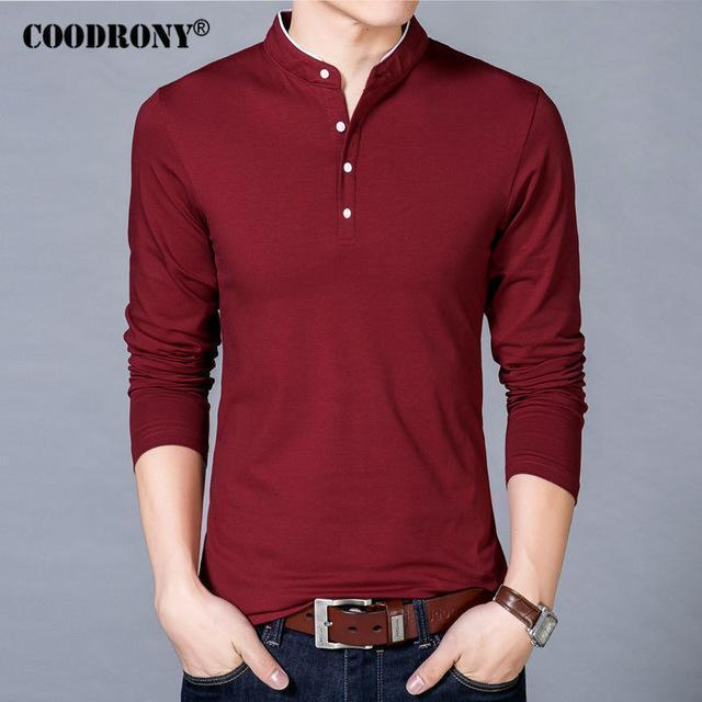 COODRONY T-Shirt Men 2017 Spring Autumn New 100% Cotton T Shirt Men Solid Color Tshirt Mandarin Collar Long Sleeve Top Tees 7608-Red-S-JadeMoghul Inc.