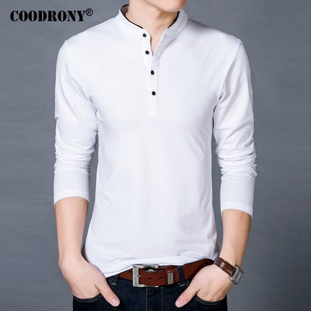 COODRONY T-Shirt Men 2017 Spring Autumn New 100% Cotton T Shirt Men Solid Color Tshirt Mandarin Collar Long Sleeve Top Tees 7608-White-S-JadeMoghul Inc.