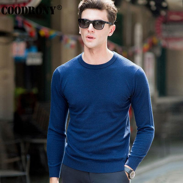 COODRONY Top Quality Knitted Cashmere Sweaters Christmas Merino Wool Sweater Men Classic Casual Pure Color O-Neck Pullover Men-Black-S-JadeMoghul Inc.