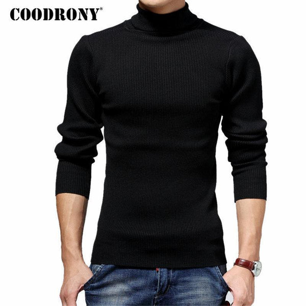 COODRONY Turtleneck Sweater Men Winter Thick Warm Wool Sweaters Christmas Knitted Cashmere Pullover Men Slim Fit Jersey Man 6703-Black-S-JadeMoghul Inc.