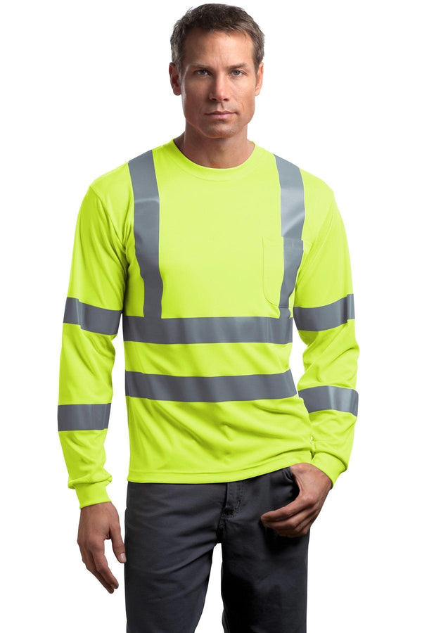 CornerStone - ANSI 107 Class 3 Long Sleeve Snag-Resistant Reflective T-Shirt. CS409-Workwear-Safety Yellow-2XL-JadeMoghul Inc.