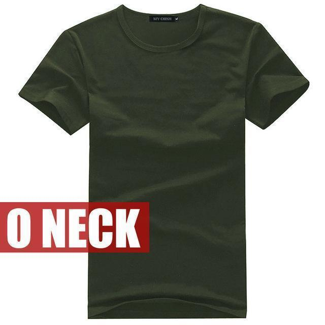 Cotton Casual Short Sleeve V-Neck T-Shirt-O Neck Army-S-JadeMoghul Inc.