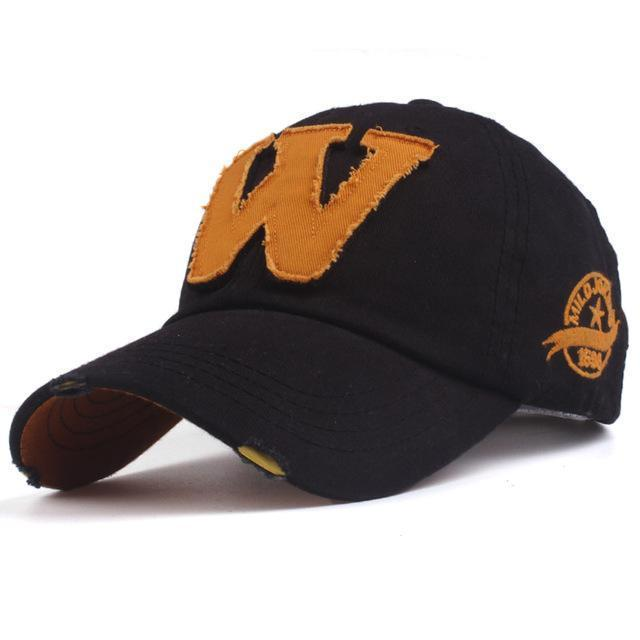 Cotton Embroidered 'W' Letter Cap-black-Adjustable-JadeMoghul Inc.