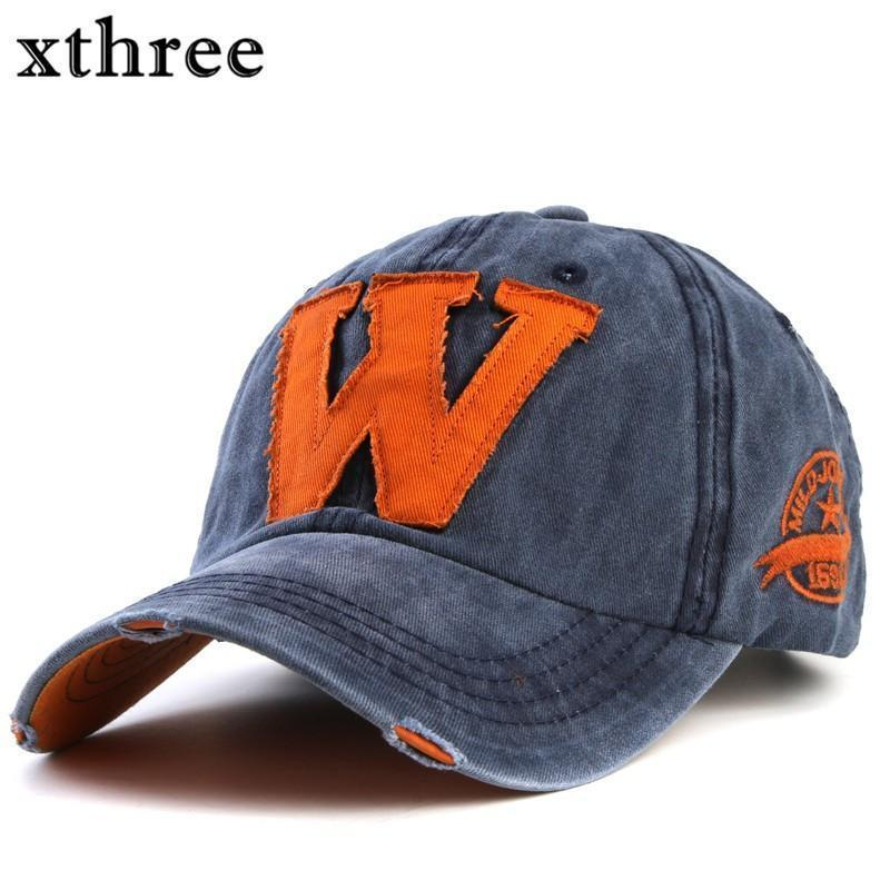 Cotton Embroidered 'W' Letter Cap-black gray-Adjustable-JadeMoghul Inc.