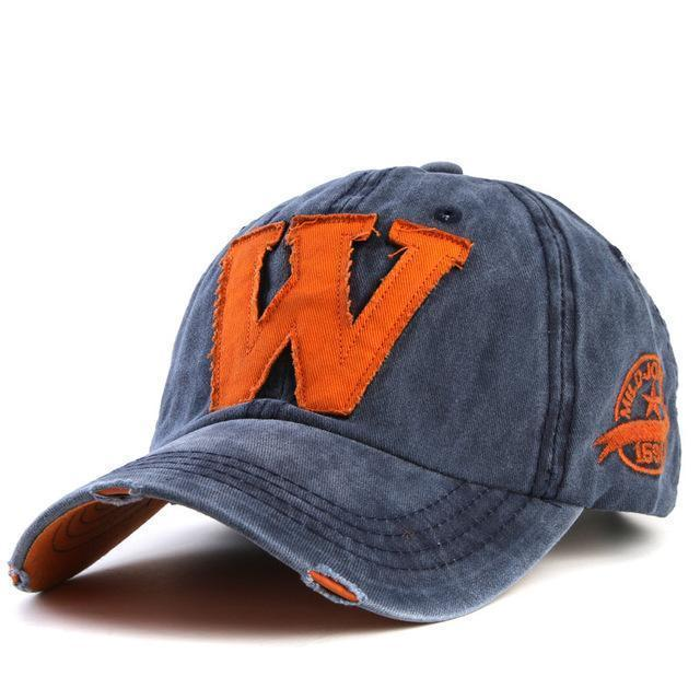 Cotton Embroidered 'W' Letter Cap-Blue-Adjustable-JadeMoghul Inc.