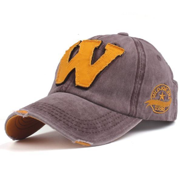 Cotton Embroidered 'W' Letter Cap-Brown-Adjustable-JadeMoghul Inc.