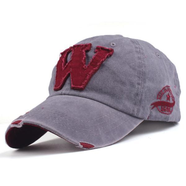 Cotton Embroidered 'W' Letter Cap-Gray-Adjustable-JadeMoghul Inc.