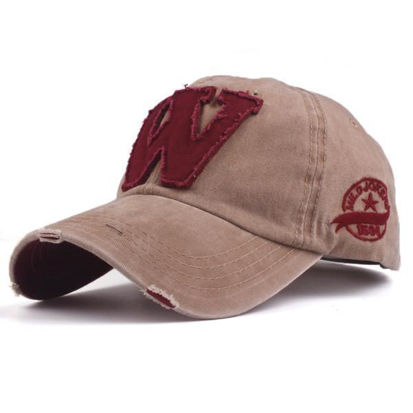 Cotton Embroidered 'W' Letter Cap-Khaki-Adjustable-JadeMoghul Inc.