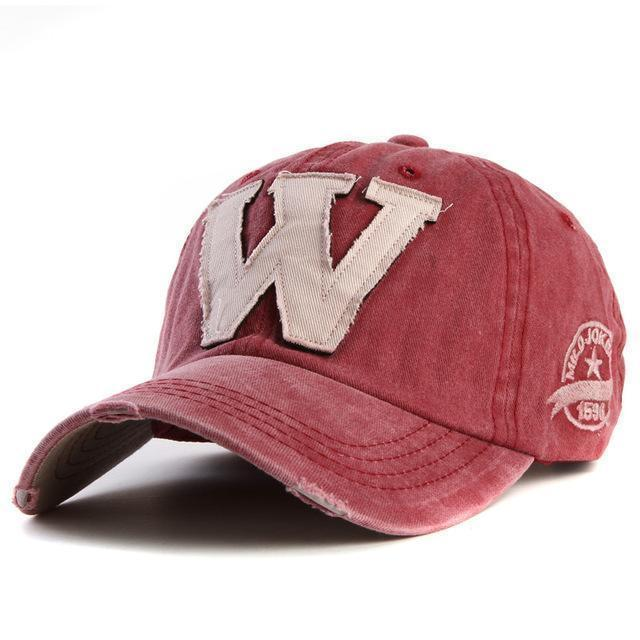 Cotton Embroidered 'W' Letter Cap-Red-Adjustable-JadeMoghul Inc.