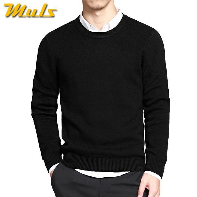 Cotton Sweater For Men / O-Neck Slim Pullover-Black-XL-JadeMoghul Inc.