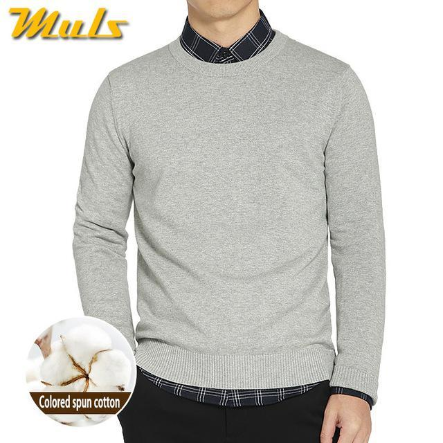 Cotton Sweater For Men / O-Neck Slim Pullover-Grey-XL-JadeMoghul Inc.
