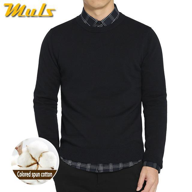 Cotton Sweater For Men / O-Neck Slim Pullover-Navy-XL-JadeMoghul Inc.