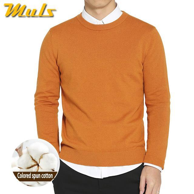 Cotton Sweater For Men / O-Neck Slim Pullover-Orange-XL-JadeMoghul Inc.