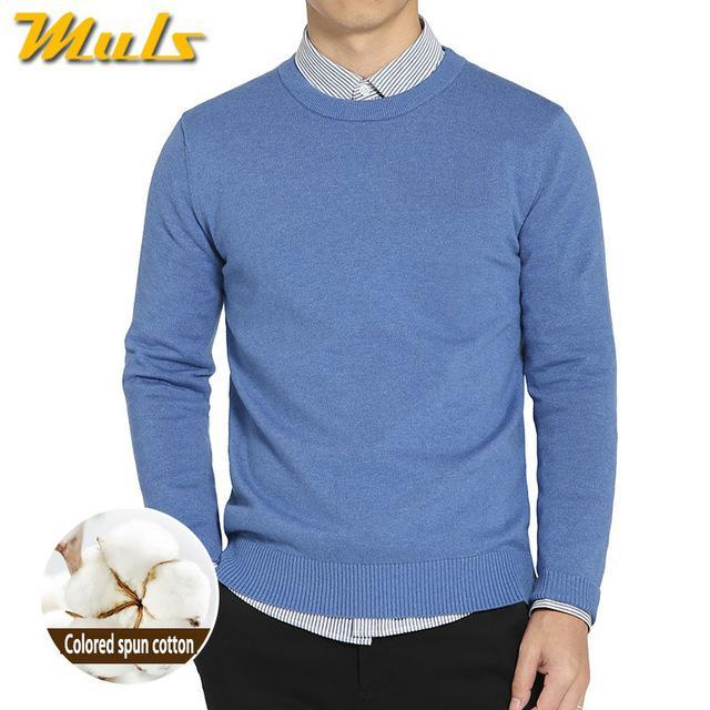 Cotton Sweater For Men / O-Neck Slim Pullover-Sky Blue-XL-JadeMoghul Inc.