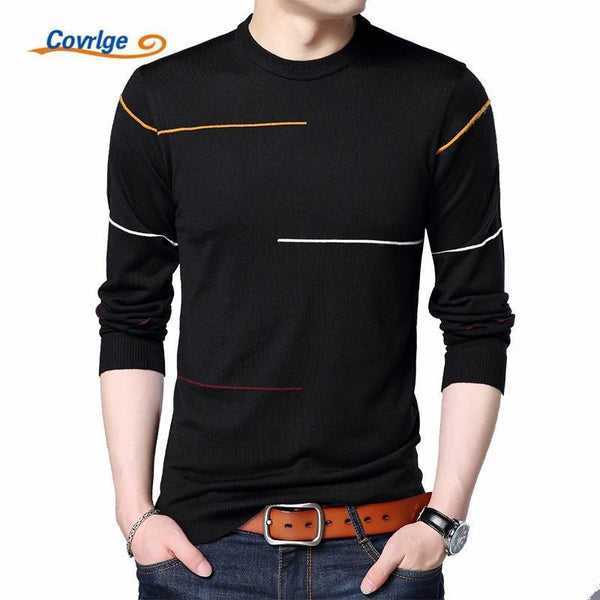 Covrlge 2017 Autumn New Men's Sweater Fashion Slimfit Pullover Male Striped Pullover Men Brand Clothing Turtle Neck Shirt MZL010-Black-L-JadeMoghul Inc.