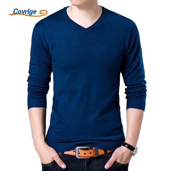 Covrlge Mens Sweaters 2017 Autumn Winter New Sweater Men V Neck Solid Slim Fit Men Pullovers Fashion Male Polo Sweater MZM004-Red-S-JadeMoghul Inc.