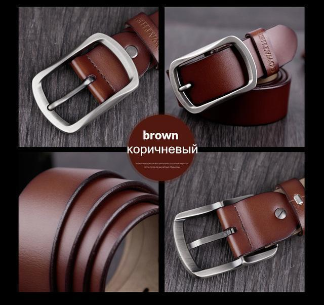 COWATHER cowhide genuine leather belts for men brand Strap male pin buckle vintage jeans belt 100-150 cm long waist 30-52 XF001-CY002 brown-100cm-JadeMoghul Inc.
